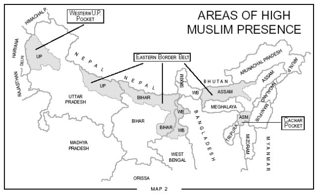 Areas with high Muslim populations in India