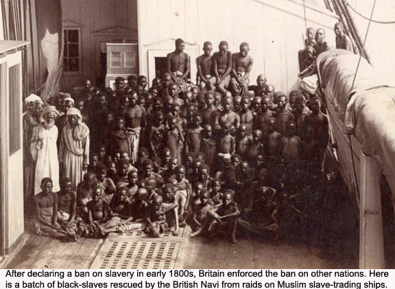 Black slaves rescued by the British Navi from Muslim slave-traders