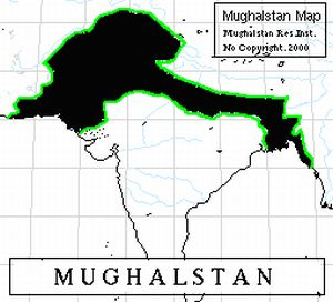 Map of proposed Mughalistan in India