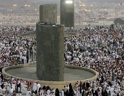 Stone throwing rituals at Hajj pilgrimage